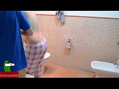 Fucking in the toilet. Homemade voyeur taped an amateur gf RAF041