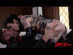 Inked sub Joanna Angel dominated with big cock and fed jizz