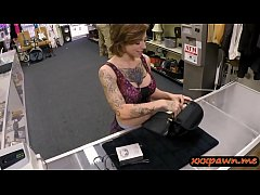 Tattooed woman smashed by nasty pawn guy