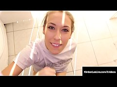 Girl Next Door Kimber Lee Gives Guy Handjob In Laundry Room!