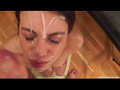 Black haired Euro slut gets a lovely facial