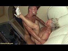 busty hairy 75 years old granny mom enjoys her first rough porn video with a young toyboy