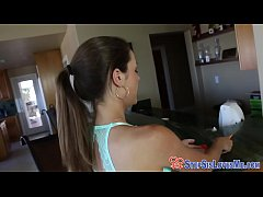 Teen stepsis face spunked