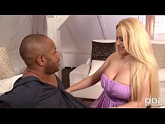 Interracial Blowjob with Blonde Babe Angel Wicky Sucking on Big Black Cock