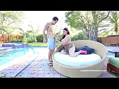 Big Titted Angelina Castro Blows the Pool Guy Outdoors!