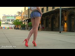HD Jeny Smith walks the streets naked with only painted pants. Shocking footage