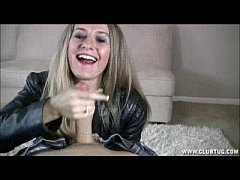 Sara James Gives a handjob to help with blue balls wearing a leather jacket