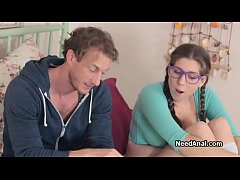 Big tit teen coed titty fucked in glasses
