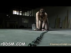 Bounded slave beauty is getting a lusty muff punishment