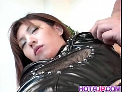 Hitomi Ikeno in fishnets has hairy slit fucked hard after blowjob