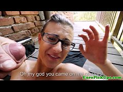 Euro slut in glasses receives a facial