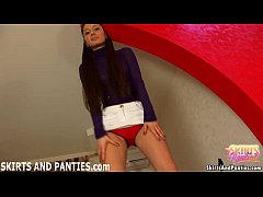 Euro teen Vilena lifting her skirt in public