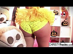Sexy Christy Mack dresses up for Halloween then plays with herself