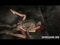 Hot 3D redhead elf babe gets fucked by a goblin