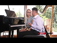 Kinky piano teacher Florane Russel double penetrated with dick & sex toy GP256