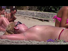 Clip sex Big Blonde Minger Tits on the beach with stubbily armpits