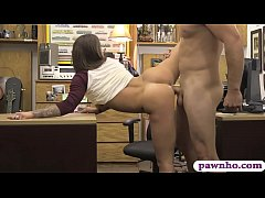 Pretty babe pawns her pussy and pounded by pawn keeper