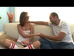 Hot fucking action between a man and a hot young babysitter Riley Reid