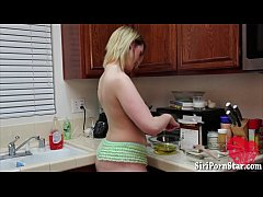 Big titted blondie solo masturbation in the kitchen