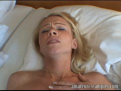 hot blonde gets a deep risky creampie