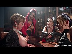 Busty blonde Milf Darling in local dyke bar surrounded by three lesbians Daisy Ducati and Mona Wales and Mistress Kara and double penetration banged