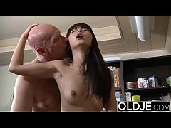 Asian Young Babe Fucked by bald old man she sucks dick pussy sex swallows