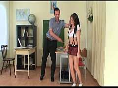 Strict teacher brutalizes and fucks a cute schoolgirl