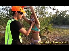 Ebony teen plowed outdoors