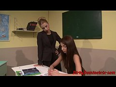 Restrained schoolgirl dildoed by lesbo femdom
