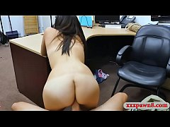 Small tits babe pounded at the pawnshop in back office