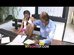 horny girl seduces her bf s old father