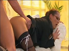 Slutty business lady Sabrina Sweet fucked by rich boss during interview
