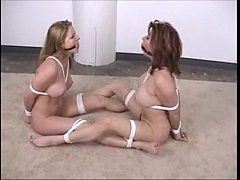 two girls bound naked in front