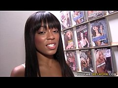 Beautiful Ebony Tila Flame Squirts On Gloryhole Cock
