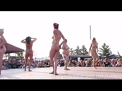 interesting amateur pole stripping contest at a...