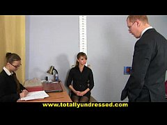 Humiliating, totally nude job interview for young lady