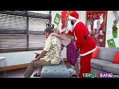 Delicious little teen pounded by big dicked Santa