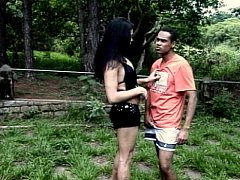 RAndy ass fucking guy and shemale  in the woods