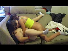 Two horny teens gets nasty together while left home alone kissing and hardcore pussy fucking