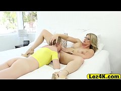 Blonde lesbian beauties extreme pussy play in great details