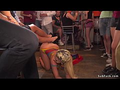 naked body painted blonde euro slave sienna day walked in public then dragged in bar
