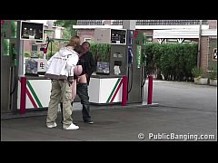 Very pregnant girl PUBLIC threesome at a gas station