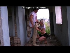 blonde sucking in an abandoned house
