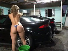 cleaning cars naked