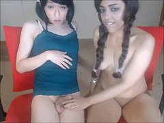 Pretty Teen in PigTails Blowing a Shemale Schlong