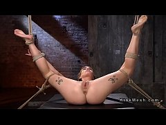 Hogtied blonde babe whipped and flogged