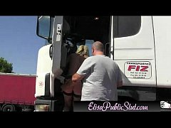 Elisa Public Slut Flashing in public on a rest area | ElisaPublicSlut.com