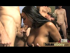 Ebony gets group cumshots 30