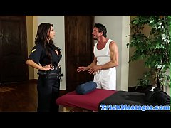 Busty police officer pussyfucked by masseur