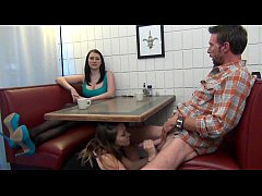 Daughter gives Footjob and BJ to Dad Under the Table